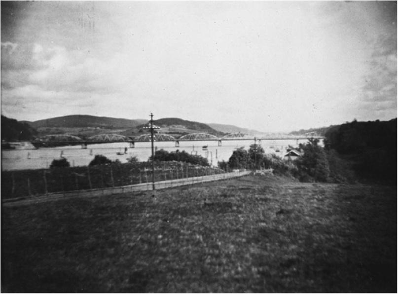 Fetsund jernbanebru sett fra Østersund ca 1920
